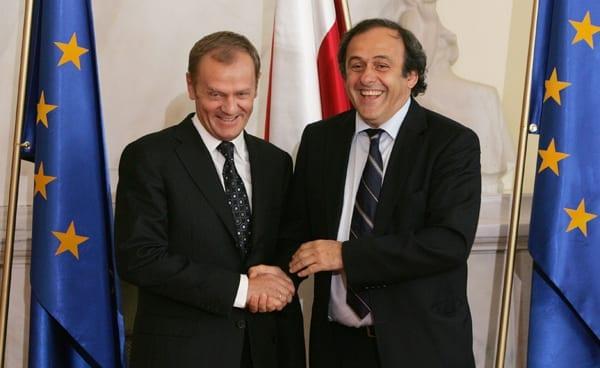 UEFAs_præsident_Platini_og_Polens_statsminister_Donald_Tusk