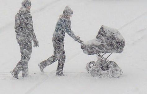 snestorme og frost i Polen